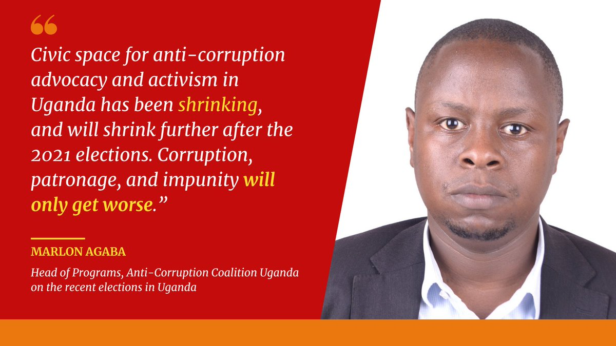 """""""Corruption...will only get worse."""" @Accu_Ug's @agabamarlon1 speaks out on the repercussions of the #election in #Uganda. PTF will continue working with our partners at ACCU to promote gov't #integrity, #transparency, & #accountability"""