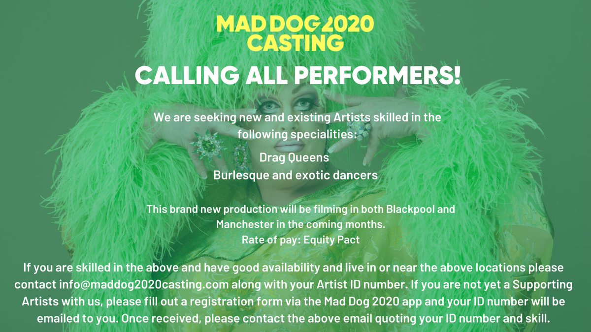 We're seeking drag, burlesque and exotic performers for a brand new production commencing March 2021. Sign up today via the Mad Dog 2020 app and get in touch! #DragQueen #Burlesque #Dancers #SupportingArtists #Extras #BackgroundCasting #CastingCall #Manchester #Blackpool