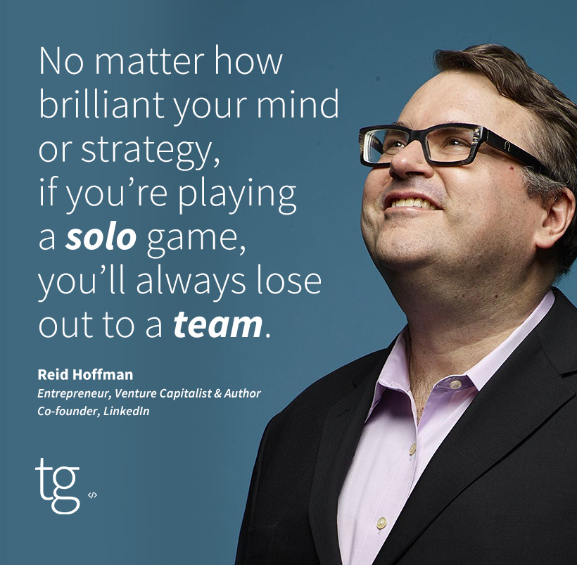 Great #MondayMotivation from LinkedIn co-founder Reid Hoffman: Amazing things can happen when a talented, inspired group of people come together for a single goal 💪 #teamworkmakesthedreamwork #tech #siliconvalley #career #culture