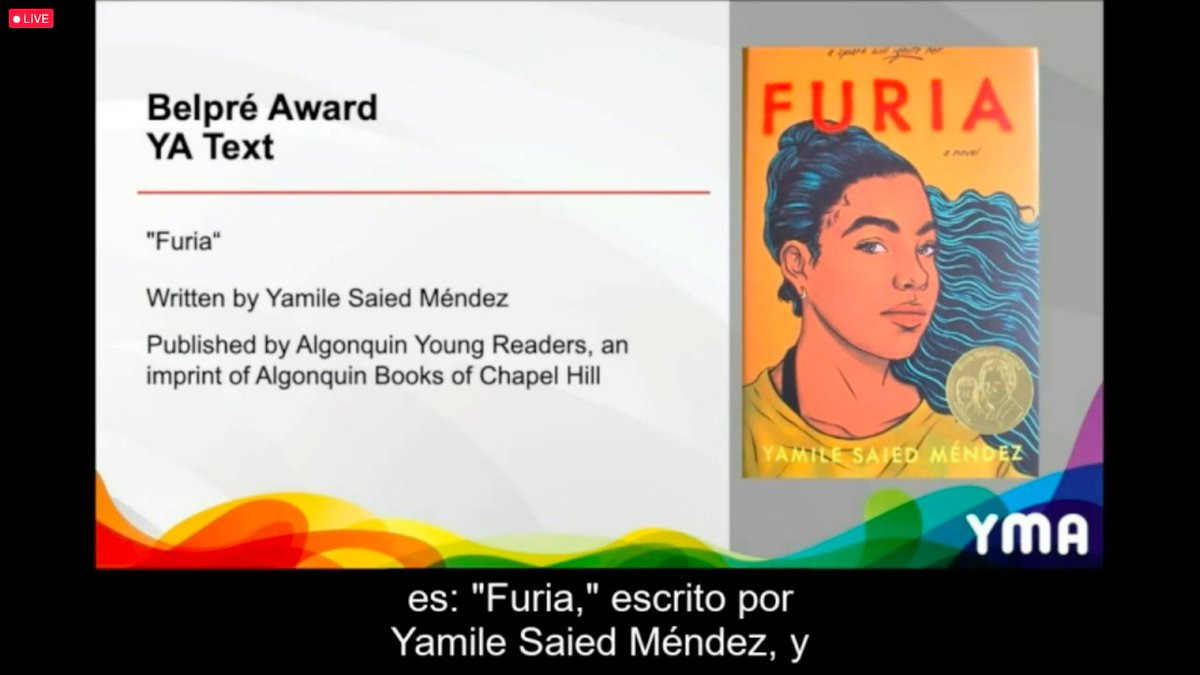 "2021 #PuraBelpré Award for Text: ""Furia"" Congratulations to @YamileSMendez!  #alamw21 #PuraBelpréAward #ALAyma #sealseason"