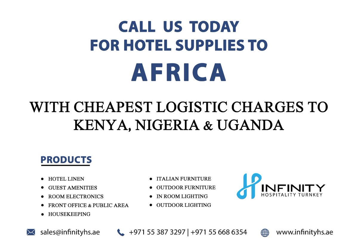 Call us Today For Hotel Supplies to Africa! For More details call 📱 : +971 55 668 6354, +971 55 387 3297 🌐 :  #infinityhs #luxuryhotels #hotelfurniture #outdoorfurniture #rollawaybed #walllamps #africa #kenya #nigeria #uganda