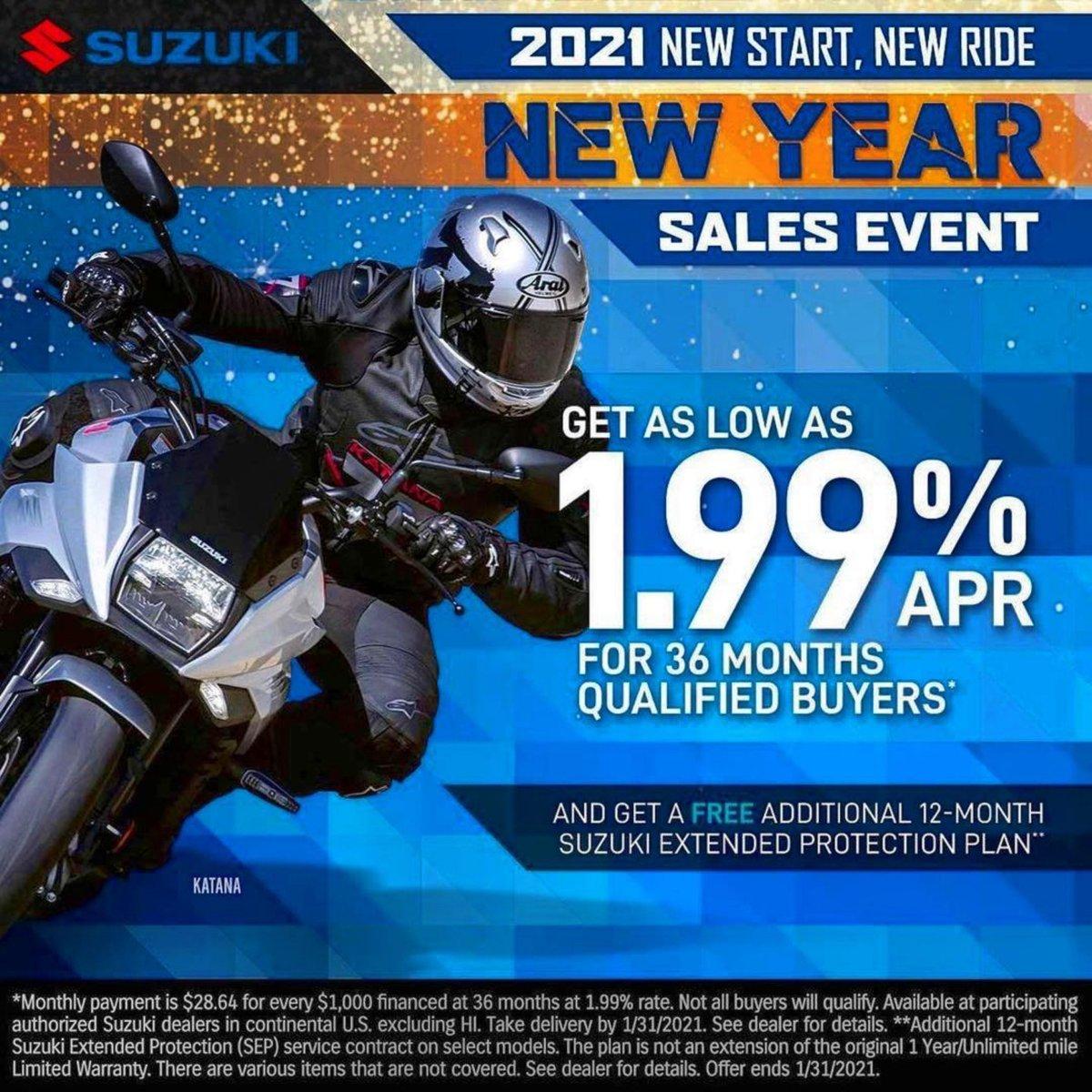 2021 New Start, New Ride - Suzuki New Year Sales Event  Head to your local Suzuki dealer today or go to  to learn more.  #Suzuki #SuzukiCycles #HappyNewYear #Sale #SalesEvent #Motorcycle #Katana