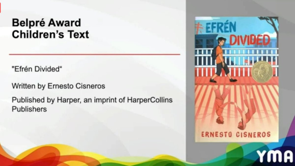 HUGE congrats to @Author_Cisneros and EFRÉN DIVIDED! 🎉🎉🎉 #ALAyma