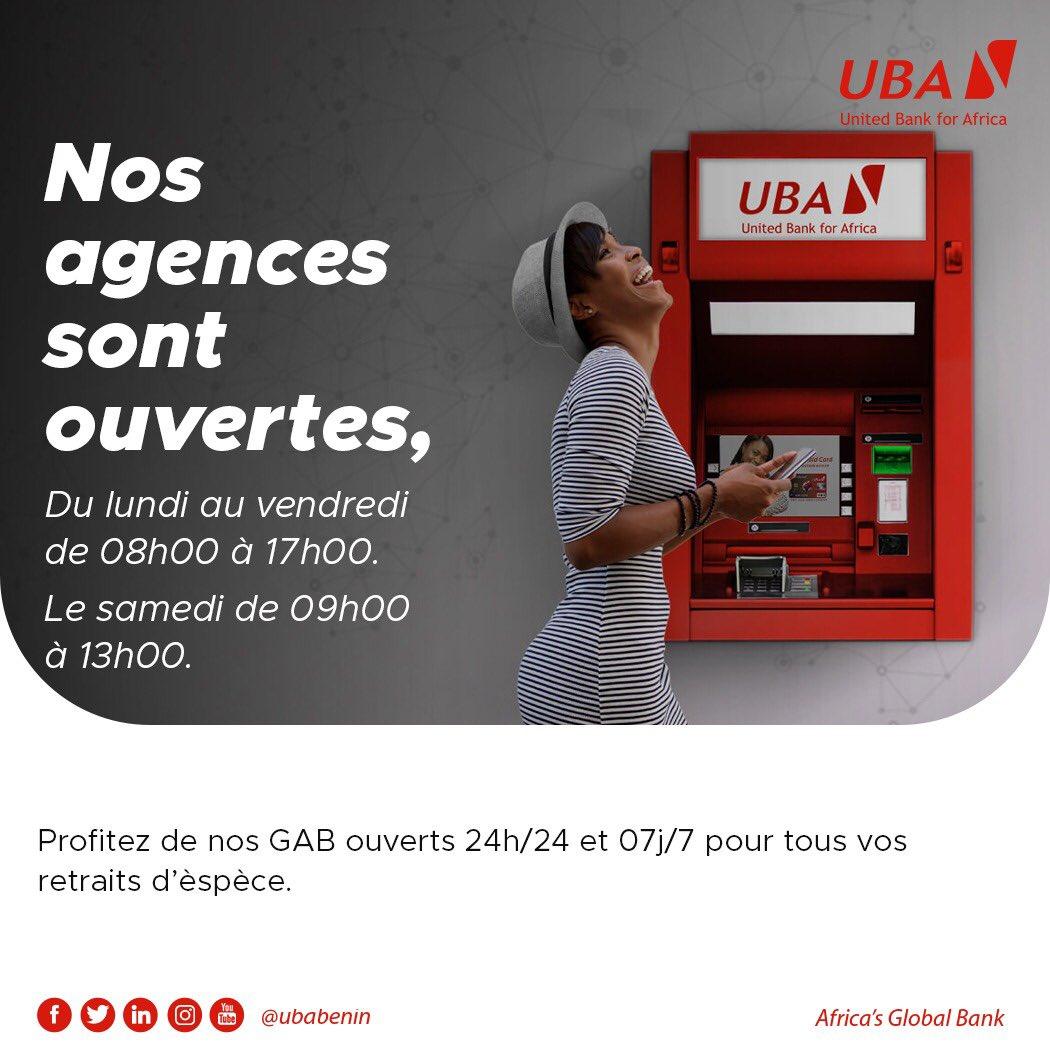 Nos agences sont ouvertes et nos conseillers clientèle restent à votre disposition pour toutes vos transactions bancaires. #UbaBénin #AfricasGlobalBank #wasexo #team229 #Bénin #Banque