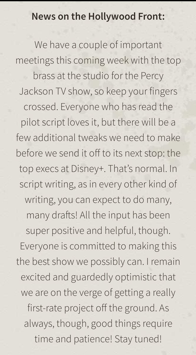 LATEST UPDATE ON THE PERCY JACKSON TV SHOW!!  directly from rick riordan's blog post yesterday 💓