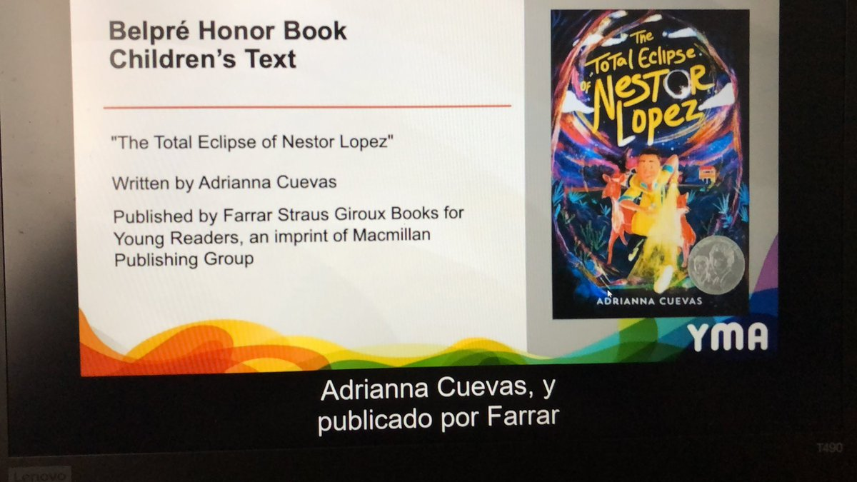 My heart is so full!! THE TOTAL ECLIPSE OF NESTOR LOPEZ is a Pura Belpré Honor Book!! Congratulations to @acuevaswrites a well deserved honor!!   #ALAyma #ALAMW21