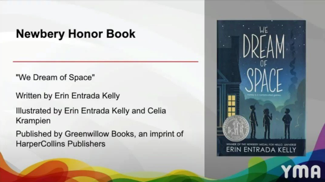 The BIGGEST congrats to @erinentrada and WE DREAM OF SPACE for winning a NEWBERY HONOR! 🎉🥳🚀 #ALAyma