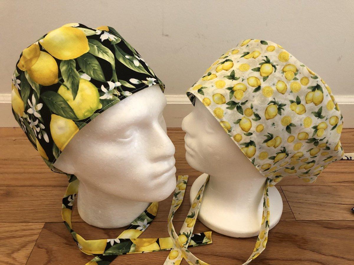 my #etsy shop: #Surgical / Scrub cap / fabric / Lemons themed / unisex  #scrubcap #lemons #reversible