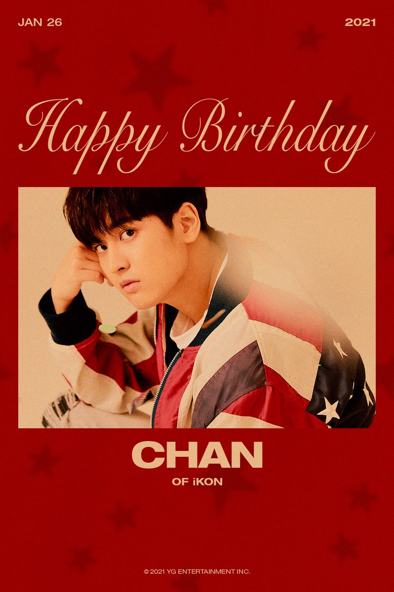 Replying to @ygent_official: HAPPY BIRTHDAY CHAN 🎉 ✅ 2021.01.26  #iKON #아이콘 #CHAN #찬우 #HAPPYBIRTHDAY #20210126 #YG