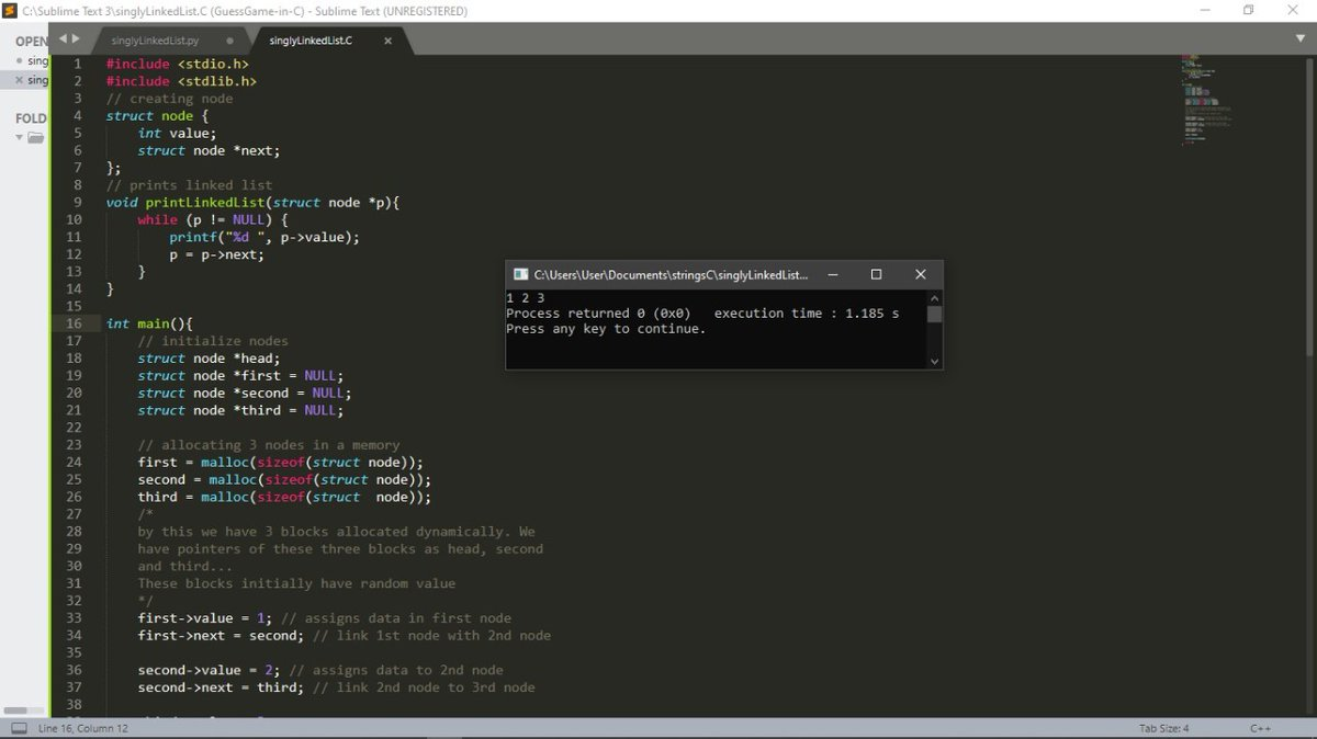 #Day13 - 1/25/2021 Studied Linked List. Implemented it on Python an C. Revised Structures in C. #100DaysOfCode #100daysofcodechallenge #Python #c