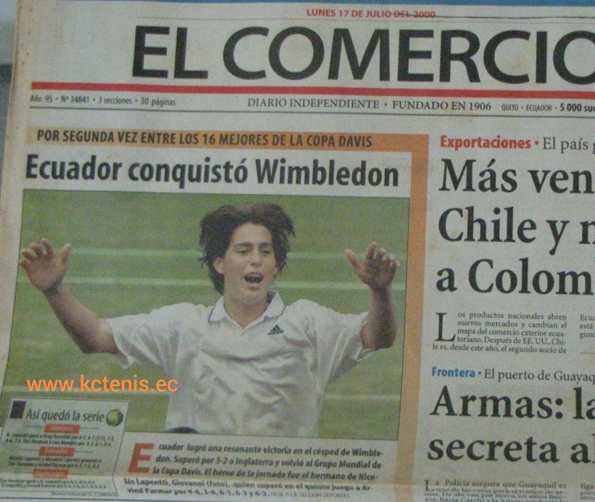 #EfeméridesKCtenis 25 enero, 1983 nació @Giovalapentti protagonista de uno de los grandes triunfos del deporte ecuatoriano #Catedralazo Ganó 19 p en #CopaDavis (al chino Ríos). Campeón de 10 Challengers #110 ATP. Como doblista juvenil ganó #Wimbledon y finalista #AustralianOpen