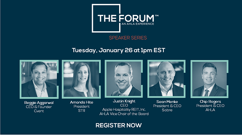Join us January 26 at 1:00 pm EST, for #TheForum to discuss Consumer & Business Travel Trends in 2021 & Beyond. Featuring: Silver partner  @Cvent, Platinum partner  @STR_Data, Silver partner @Sabre_Corp @SabreHosp, + #AppleHospitalityREIT  Register now: