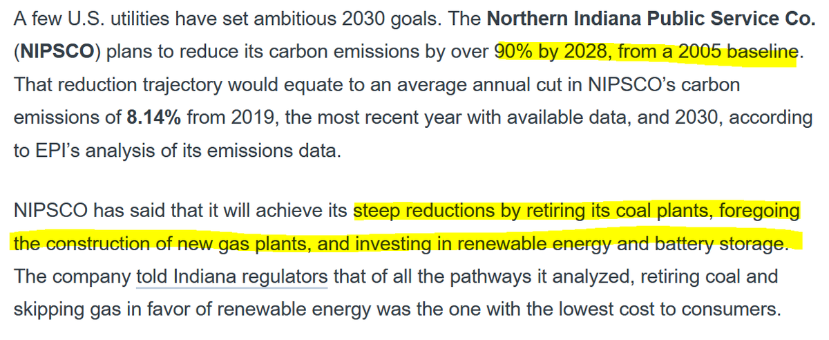 Duke Energy's future plans in the Carolinas in 2020, called Integrated Resources Plans, are the first since Duke's net-zero commitment and represented an opportunity to set a new course. And we've seen big course corrections before, like NIPSCO in Indiana (h/t  @EnergyandPolicy)