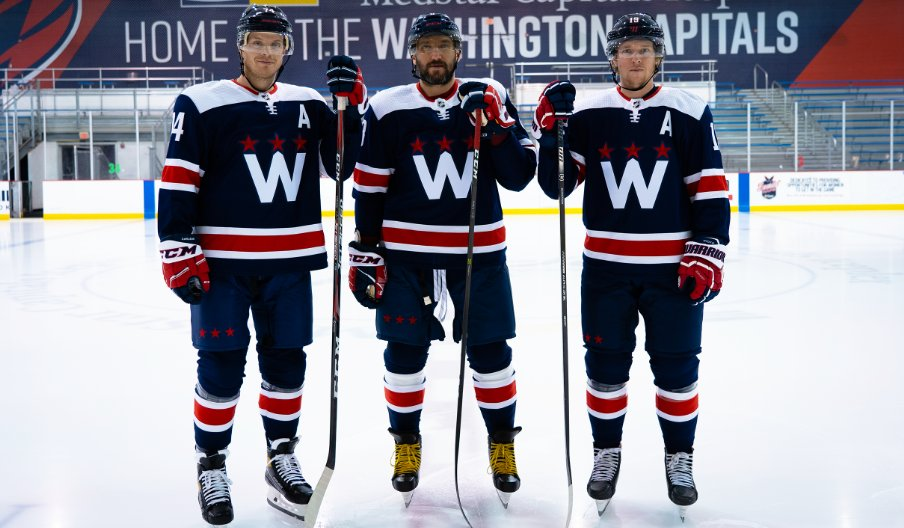 Caps unveil new third jersey design for next three seasons, including 7 home games this year. During select games the third jersey is worn, the Capitals will honor a frontline worker as the team's Blue Star of the Game @nbcwashington #ALLCAPS  (📸: @Capitals)