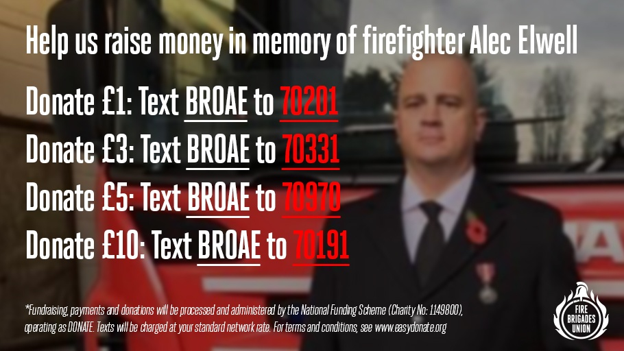 Our thoughts and condolences are with the loved ones of firefighter and FBU member Alec Elwell, who passed away on 16 January after a short battle with covid-19. Help us raise money in his memory by donating at the numbers below or via this link: lght.ly/dig39fi