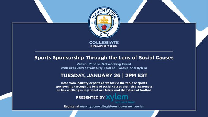 Xylem's @AustinPriceAlex and @RandolfWaters will discuss sports sponsorship through the lens of social causes at @ManCity's Collegiate Empowerment Ser...