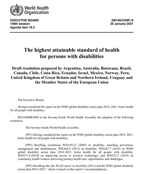 """Today's adoption by @WHO #EB148 of Israeli 🇮🇱 led resolution on """"the highest attainable standard of health for persons with disabilities"""" is an important step forward for persons with #disabilities around the world! #NothingAboutUsWithoutUs"""
