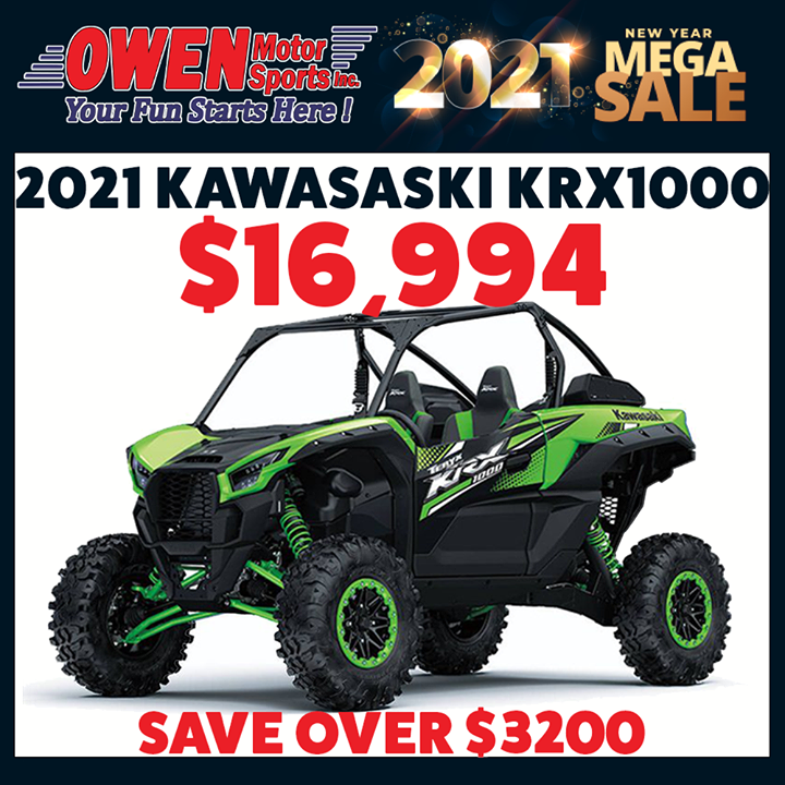 $16,994! Snag this 2021 Kawasaki KRX 1000 and save over $3200. This Mega Sales Event is a deal you don't want to miss. Head over to our Effingham store to check out our inventory or visit .   #owenmotorsports #utv #kawasakimule #kawasakiKRX #krx #sideb…