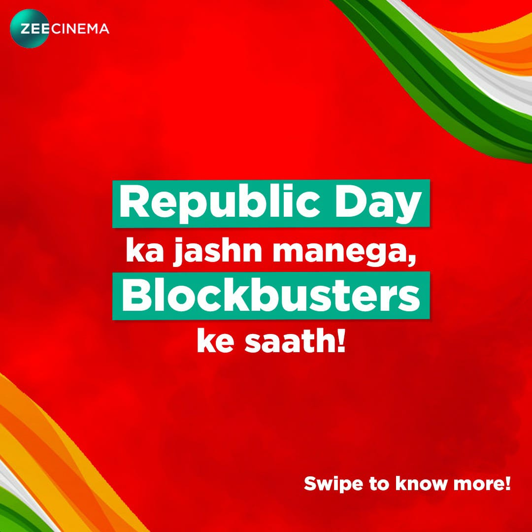 • Republic Day Special Movies on @ZeeCinema. 🎥  ~ #Bharat - 9am ~ #Simmba - 11am ~ #Saamy2  - 2.30pm ~ #S3 - 6pm ~#SuryaTheSoldier - 9pm  #SalmanKhan #RanveerSingh #ChiyaanVikram #Suriya #AlluArjun  • Follow : @OTTPlatForm 🔖