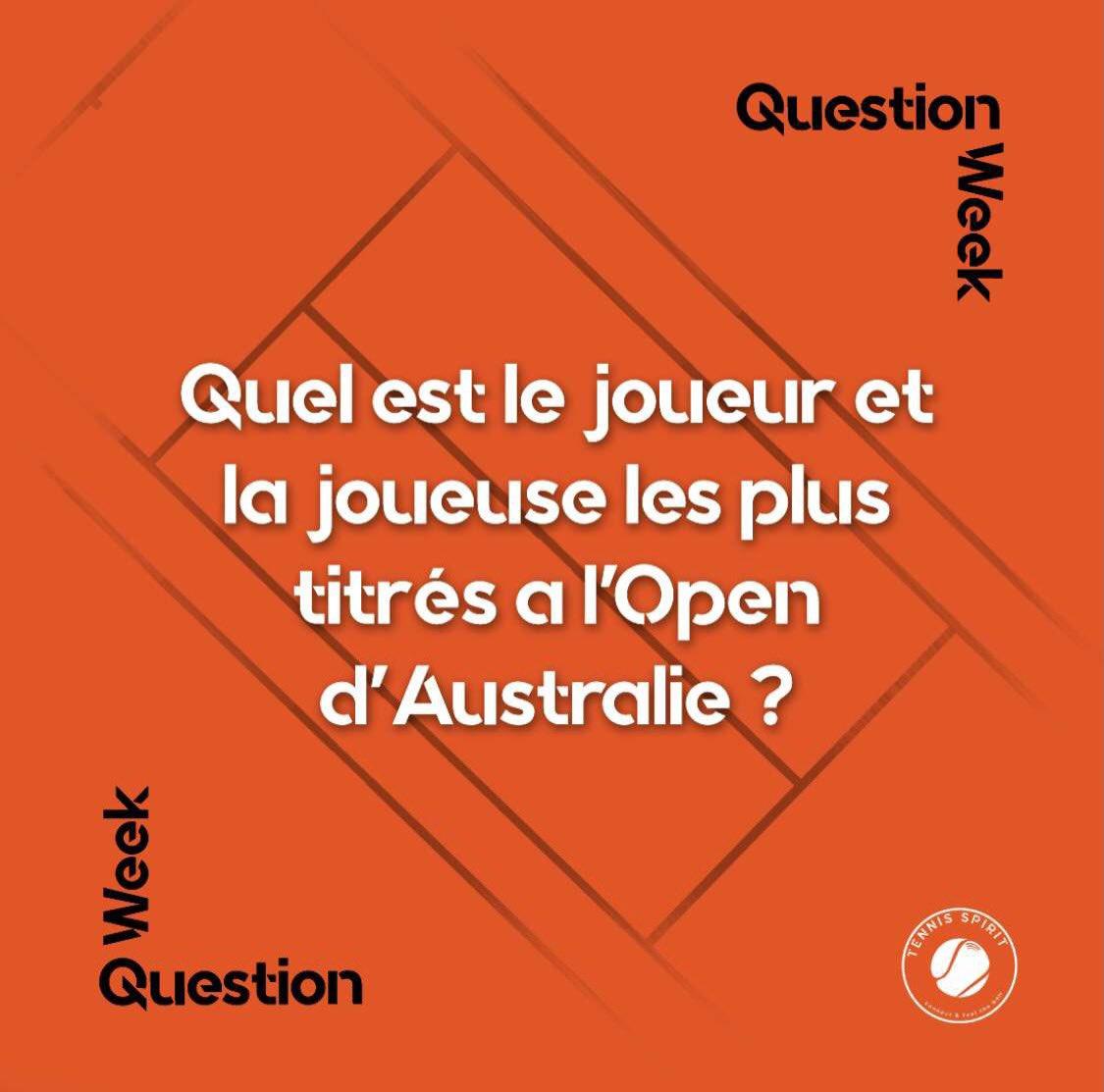 Vous en avez l'habitude maintenant, comme toutes les semaines voici la question tennis 🎾  Alors vous avez des idées ?   N'hésite pas à commenter et partager  pour prouver à tes followers que TU as la bonne réponse 😉   #tennis #AustralianOpen #AustralianOpen2021 #quiz