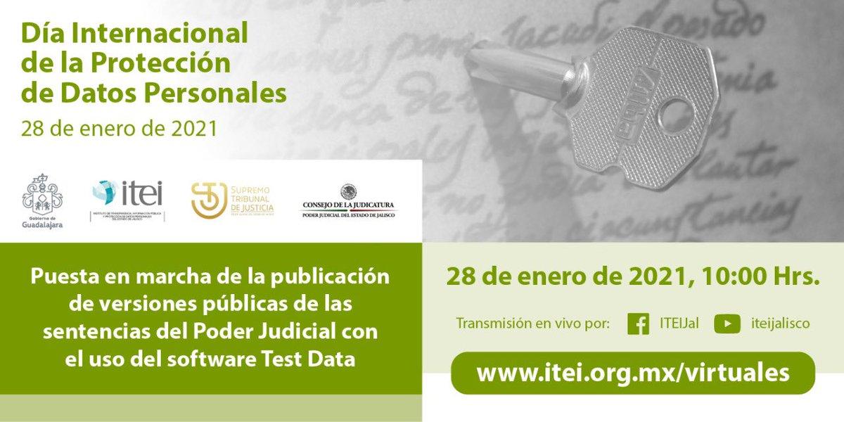 Nos vemos en la Puesta en Marcha de la publicación de las sentencias del #PoderJudicial de Jalisco @supremotribjal @Judicatura_JAL en versiones públicas a través del uso de #TestData #DíaDelaProteccióndeDatos   🗓 28 de enero ⏰ 10:00 horas https://t.co/g9r7ncZoD9