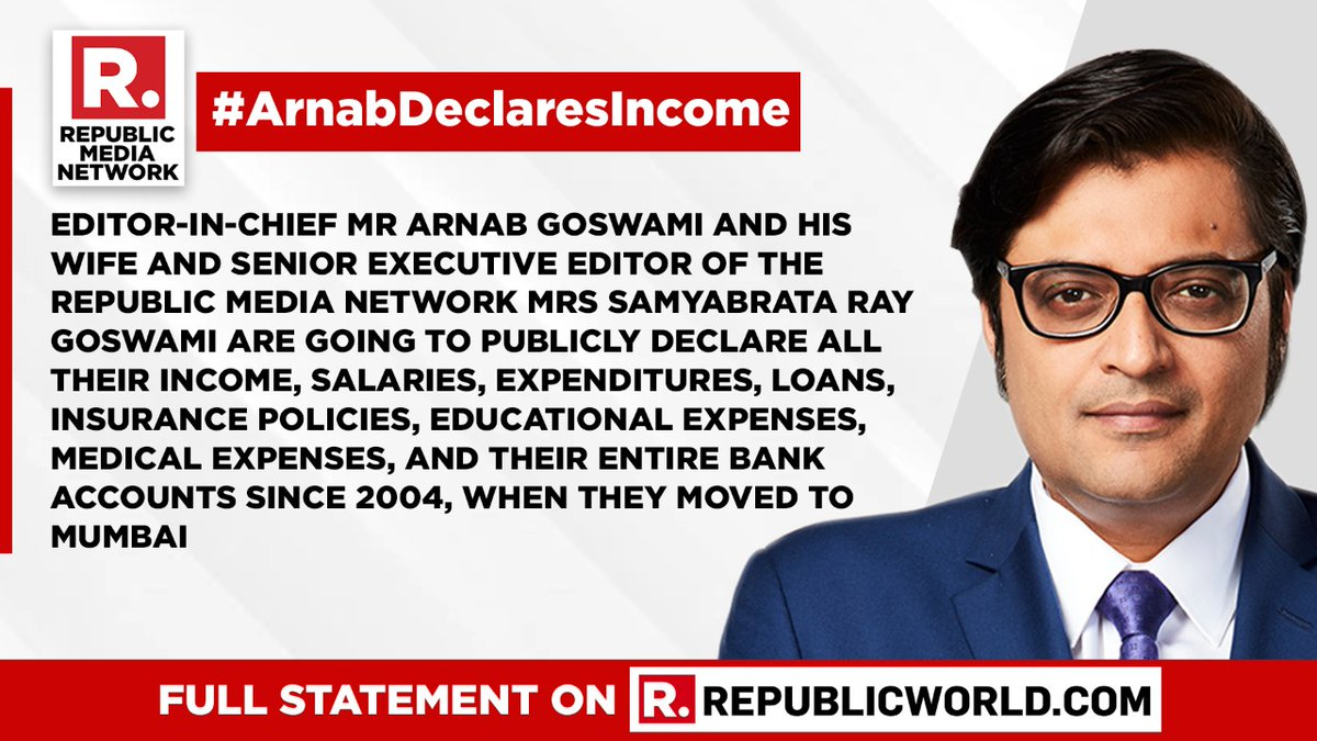 #ArnabDeclaresIncome | 'Declare your incomes,' says Arnab Goswami to all media owners & detractors. Read the full Republic Media Network release here - https://t.co/LiXD2f5ih0 https://t.co/TTKoLS7Go2