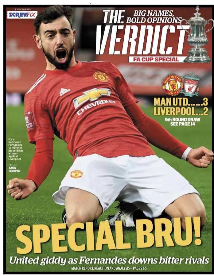 Brilliant frame, from the superbly talented Andy Hooper. Lovely looking front page from the production team at Mail sport as well.