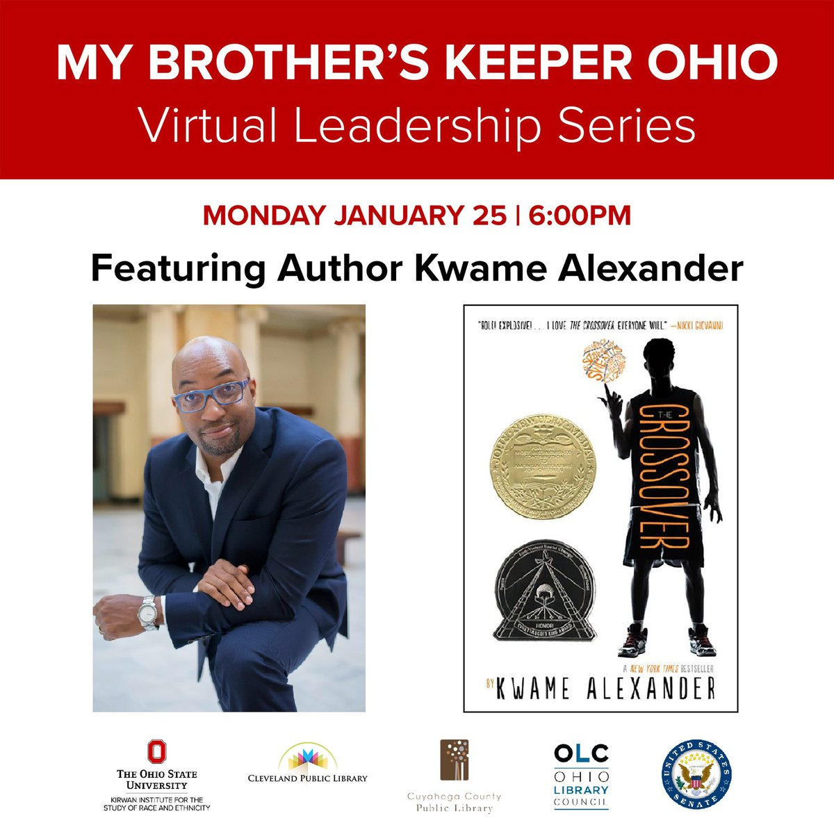 Tonight! Join us, @CuyahogaLib, & @OhioLibraryCncl for a virtual conversation with award-winning author @kwamealexander as we kick off a new book club for #MBKOhio. @SenSherrodBrown will give opening remarks. The event is free & open to the public. RSVP: