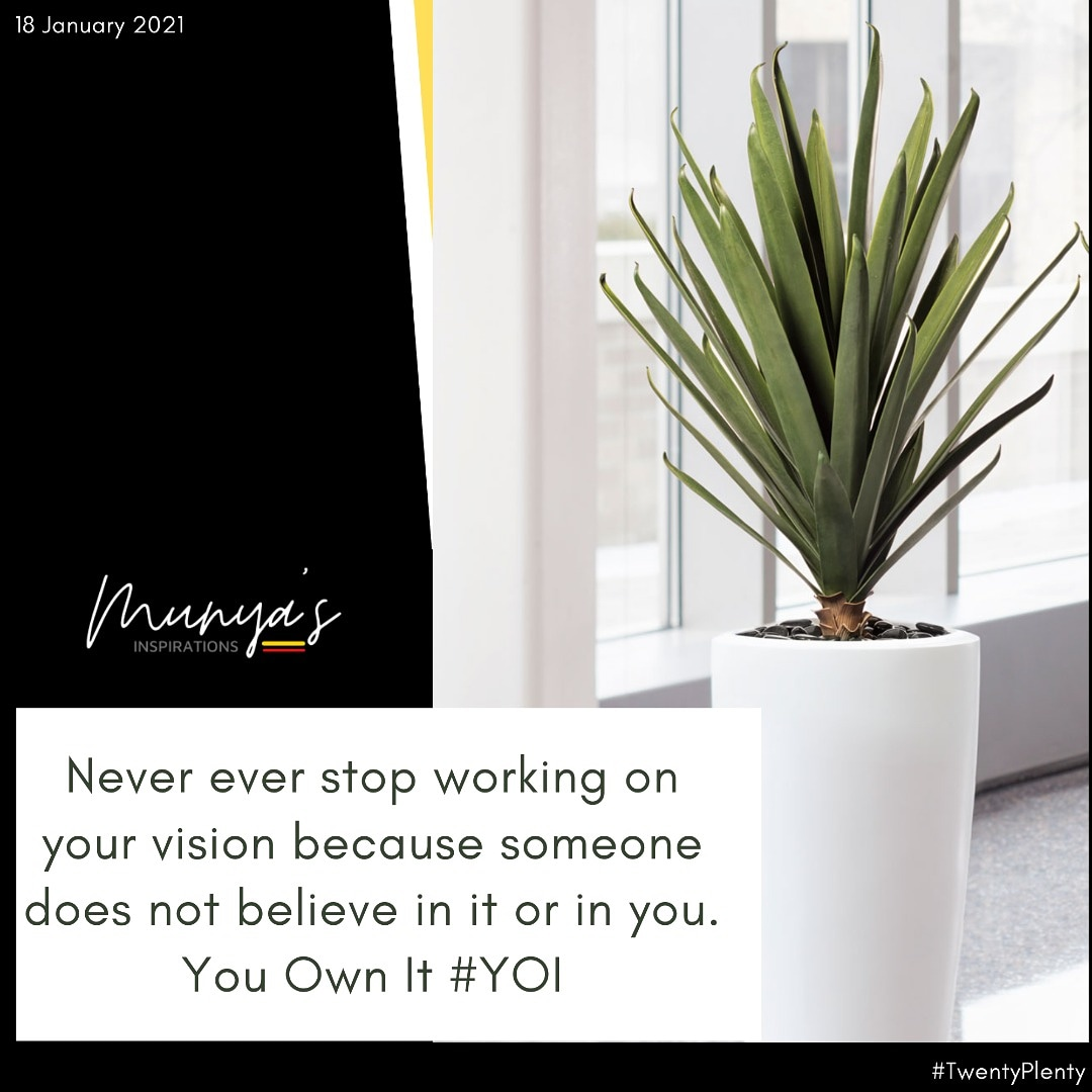 It's not everyone who will understand your vision. Or some people may see you unfit to work towards a certain vision. Don't allow that to stop you from making your dreams come true.  You own the vision!  #mondaymotivation #TwentyPlenty