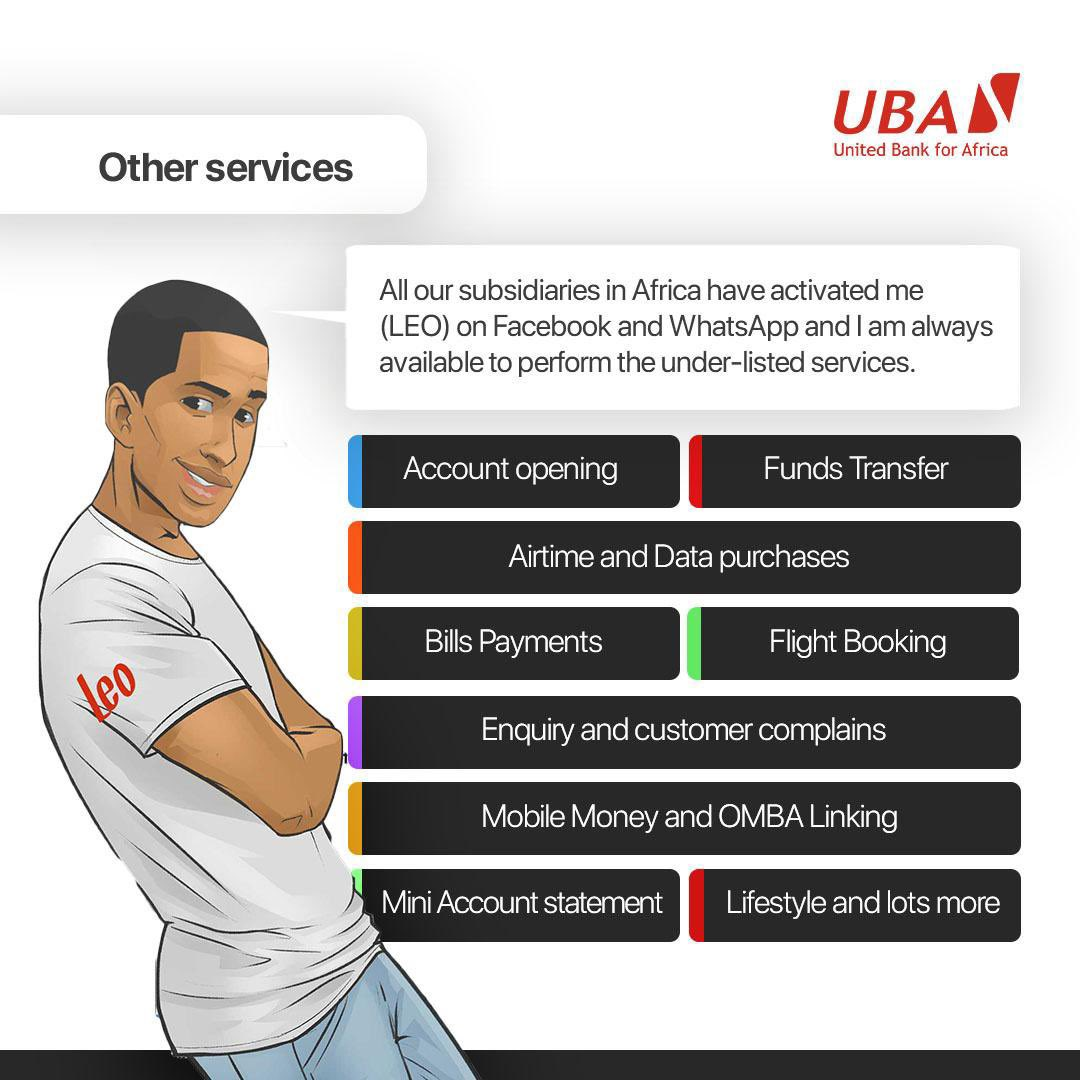 Did you know?  Leo works on Facebook & WhatsApp for all our subsidiaries in Africa. He is always there 24/7 to offer any of the services listed in the image and so much more.   What do you majorly use Leo for? #LeoAt3 #AfricasGlobalBank