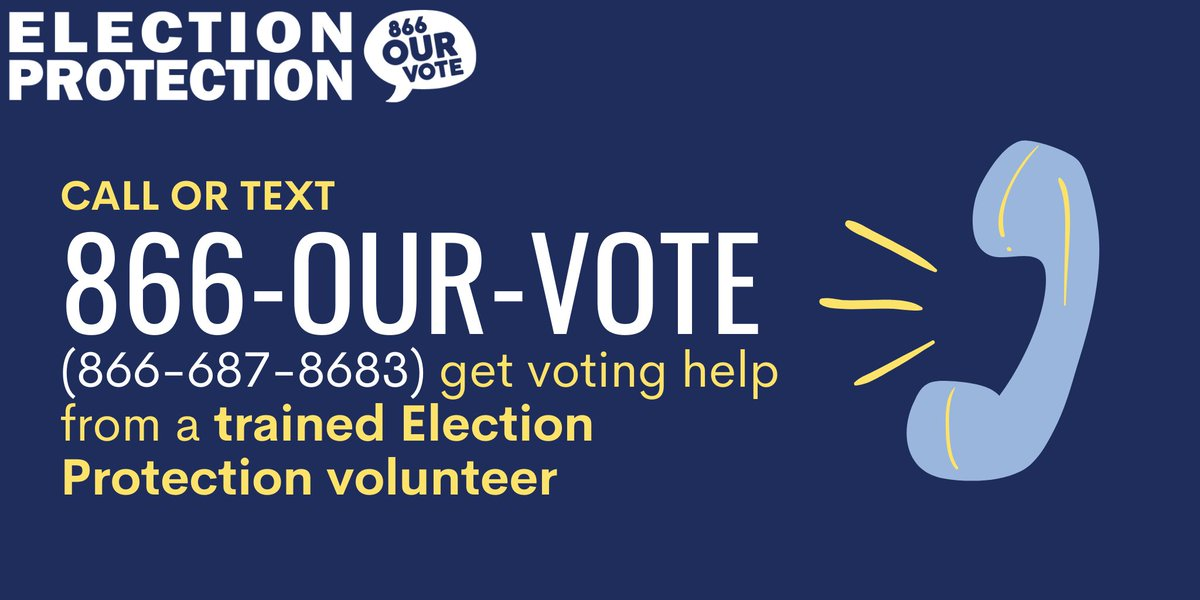 The #ElectionProtection hotline is still live this week from Monday - Friday (10am - 6pm ET). Call or text 866-OUR-VOTE (866-687-8683) if you have lingering questions about the 2020 elections or need help making a plan to vote for upcoming state and municipal elections near you.