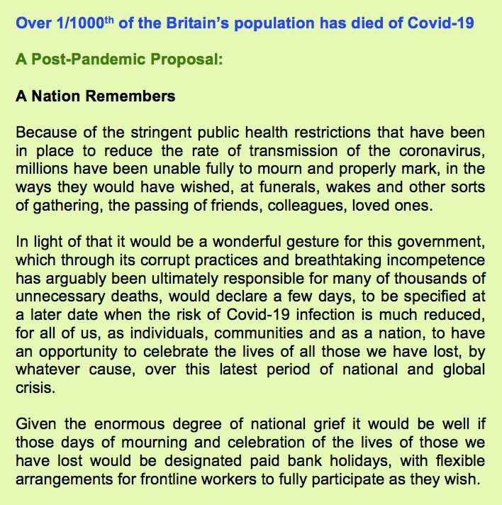 Over 1/1000th of the Britain's population has died of Covid-19  #ANationRemembers  #Britain  #COVID19  #Coronavirus  #Pandemic  #ExcessDeaths  #Community #Life #Bereavement  #Mourning  #Grieving #Closure  #Catharsis #Healing