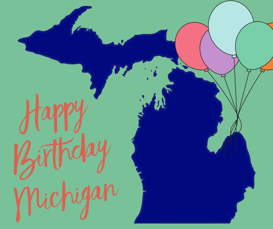 Happy 184th birthday to the great state of Michigan! Today we celebrate Michigan entering the Union on January 26, 1837 and becoming the nation's 26th state.