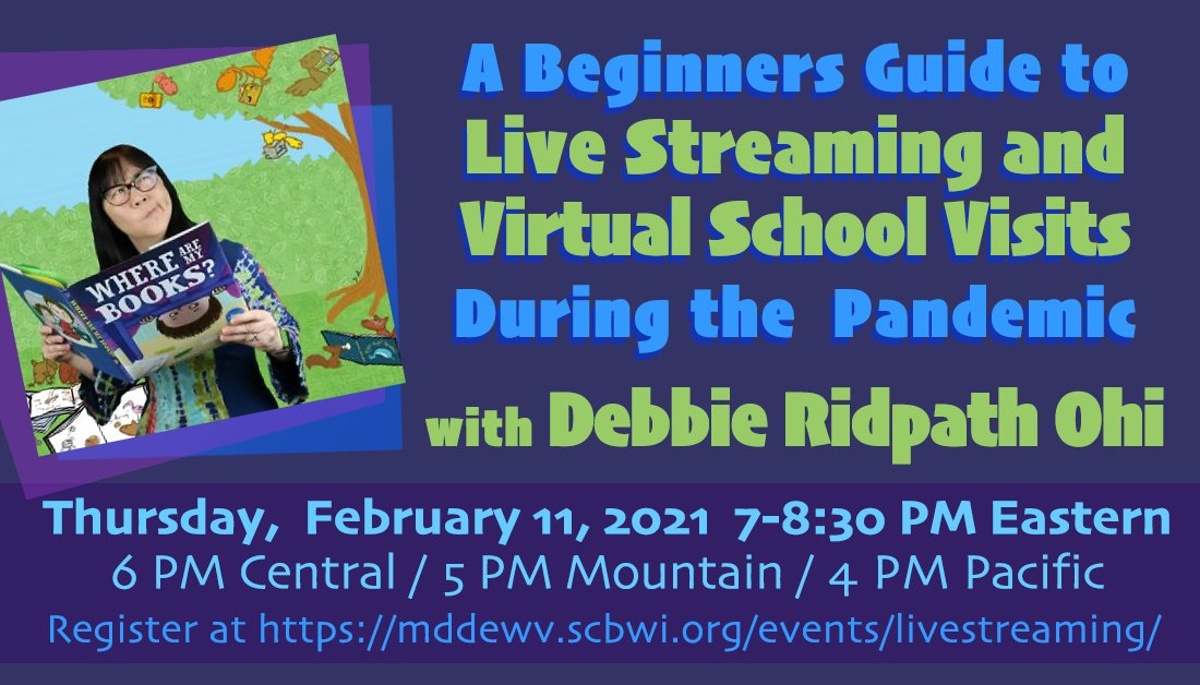 Worried about how to run awesome virtual school visits and events? @inkyelbows is here to show you the way with a webinar on author/illustrator virtual events! mddewv.scbwi.org/events/livestr…