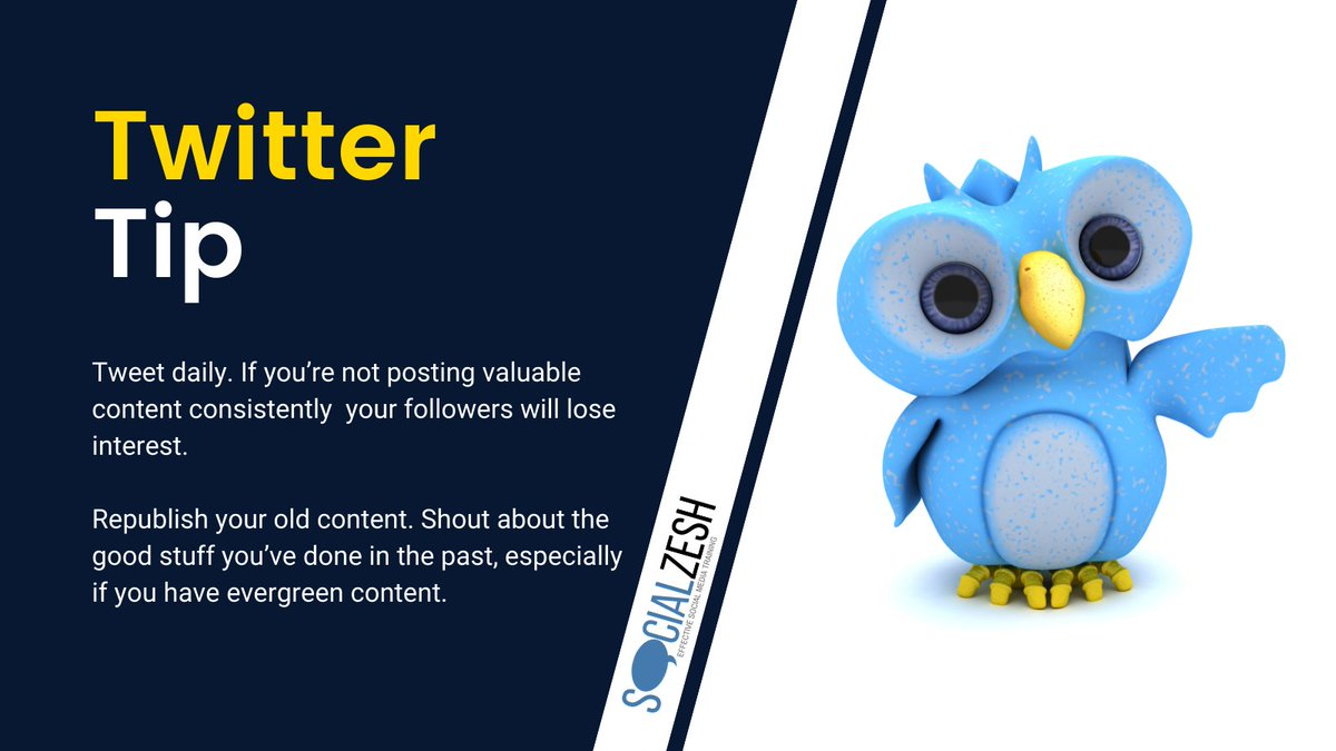 💡 Tweet daily. If you're not posting valuable content consistently  your followers will lose interest.   💡 Republish your old content. Shout about the good stuff you've done in the past, especially if you have evergreen content.  #TwitterTips #SocialMediaTips