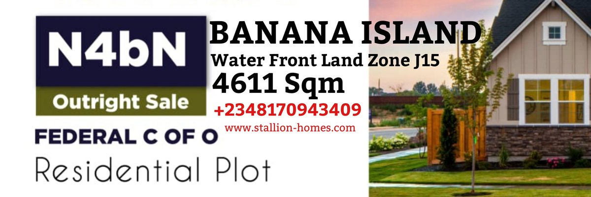 STALLION HOMES EXCLUSIVE LISTING: 4,611 Sqm Of Residential Empty Land For Sale At Water Front Land Zone J15 Banana Island. PRICE: N4bn Kindly Check Banner For More Info..Inspection Available At Anytime! #Chelsea #tuchel #coach #Mondaymotivation #Lampard #Legend #Bitcoin #berry