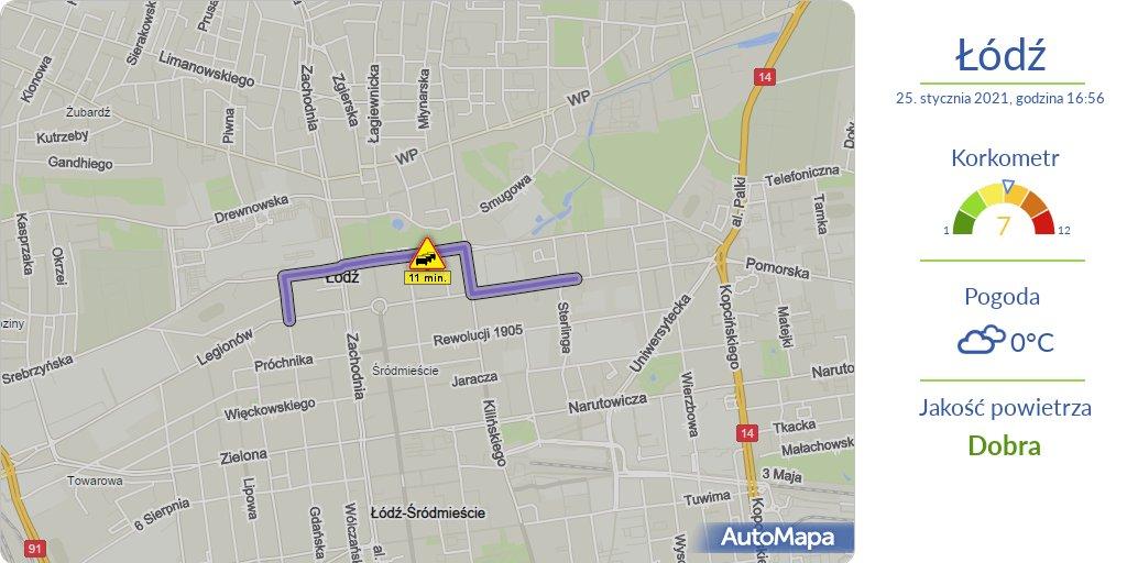 #ŁÓDŹ Aktualna #MAPA korków przekraczających 10 minut  ⚠️ #Korkometr: 7/12 🕔 Godzina: 17:00  #Traffic #AutoMapaAlert #Korek #Utrudnienia #KorkometrŁÓDŹ