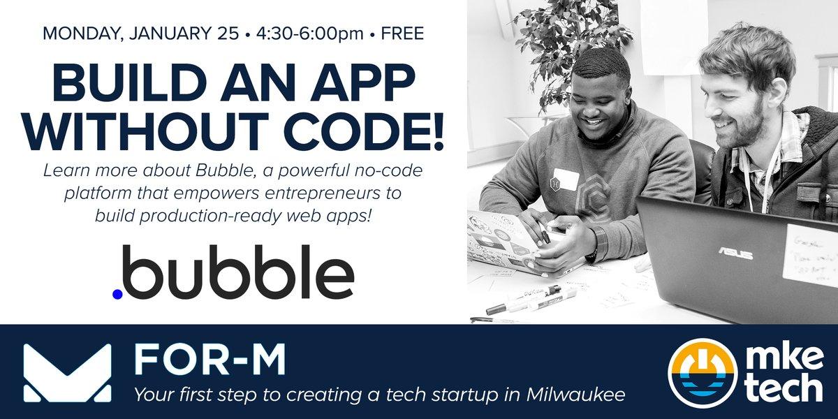 Last call to sign up for TONIGHT'S first FOR-M workshop of the year! We can't wait to see you!  @bubble @MKETechHub @wepivotmke #mketech