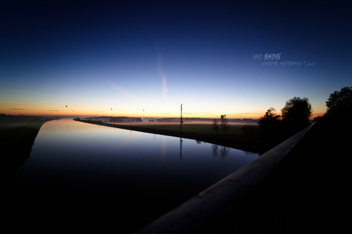 On a bridge after sunset. I hear the silence. #thoughts #landscape #waterway #nature