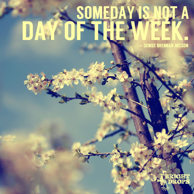 Someday is not a day of the week. #quote  #MondayMotivation