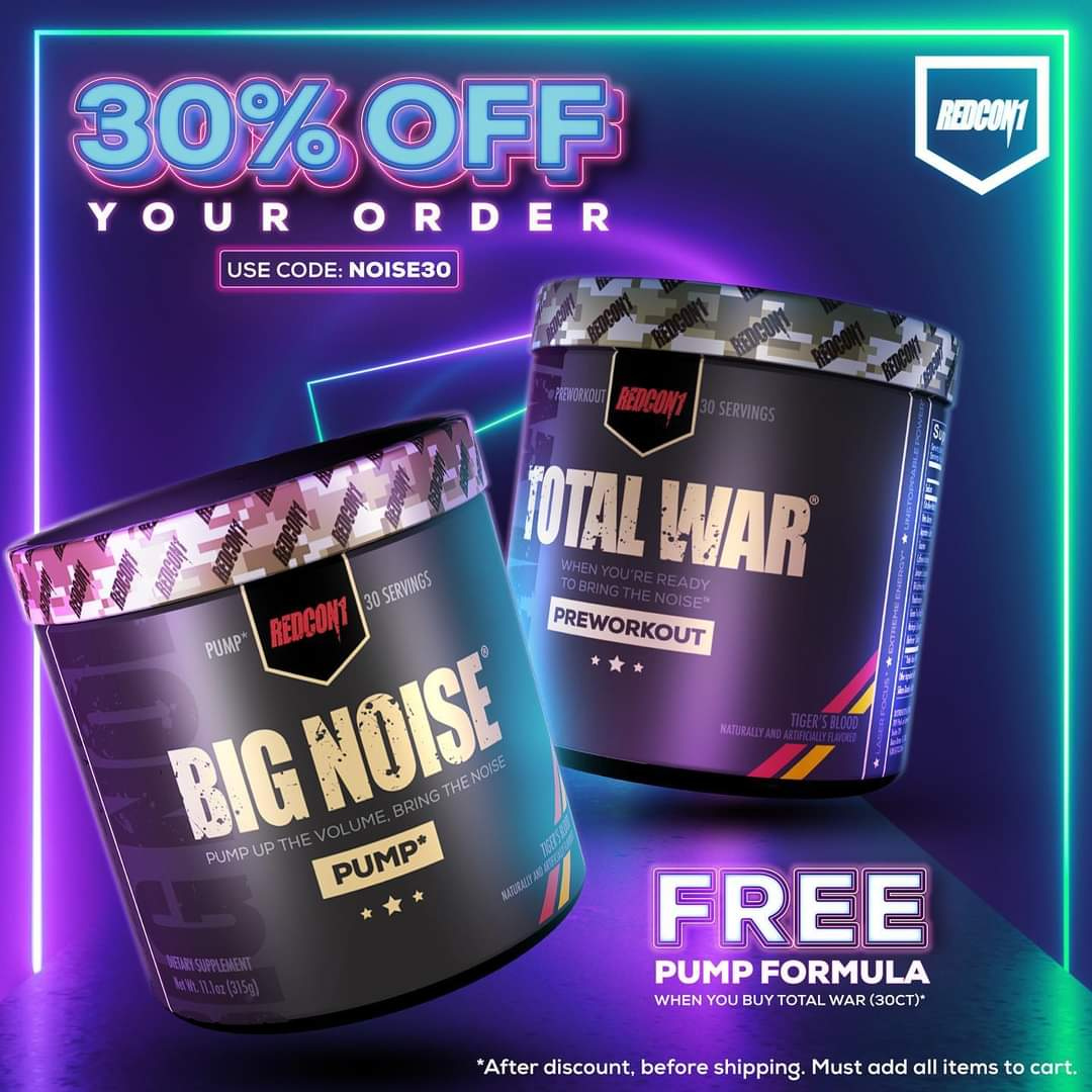 Today when you buy a TOTAL WAR you will receive a BIG NOISE absolutely FREE! Use the code NOISE30 to save 30%! #redcon1 #higheststateofreadiness #bodybuilding #fitness #powerlifting #strongman #crossfit #fitfam #supplements #workout #lift #workingout ••