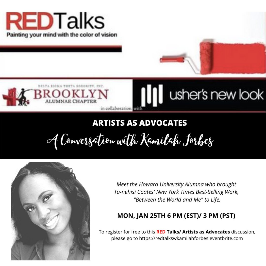 Join #UshersNewLook for an engaging conversation with Kamilah Forbes, the #HowardUniversity Alumna who brought @TaNehisiCoates' #NewYorkTimes Best-Selling Work, #BetweentheWorldandMe to life in a powerful and moving visual adaptation. See you there!  @Kamilahf @TaNehisiCoats