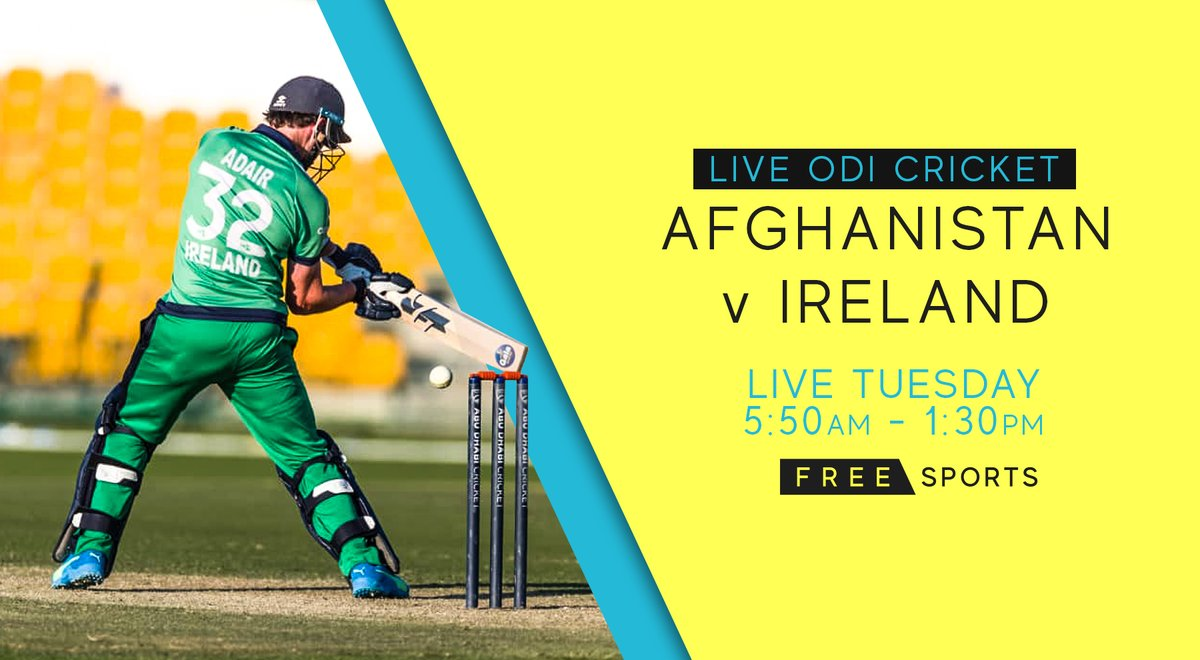Live tomorrow morning on FreeSports 👇  🇦🇫 𝗔𝗳𝗴𝗵𝗮𝗻𝗶𝘀𝘁𝗮𝗻 𝘃 𝗜𝗿𝗲𝗹𝗮𝗻𝗱 ☘ ⏰ 5.50am - 1.30pm 🏏 Third ODI   Ireland look to end the series on a high, with 10 ICC Cricket World Cup Super League points to play for!  #AFGvIRE