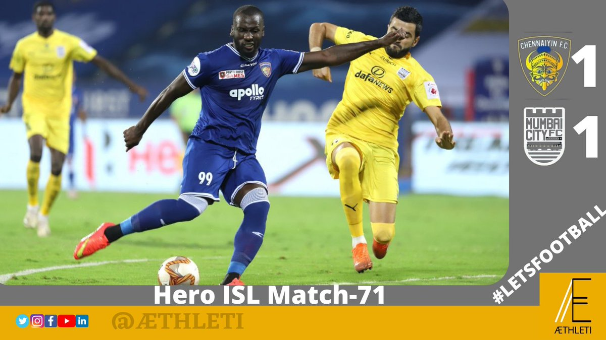Mumbai City FC 💛💛continues their unbeaten streak to 1️⃣2️⃣ games with another draw against strong rivals Chennaiyin FC💙💙  #ISL #LetsFootball #IndianFootball #AamchiCity #TheIslanders #CFCMCFC #StrongerTogether #AllInForChennaiyin #PenaltyScored #IsmaGoncalves #Ranbirkapoor