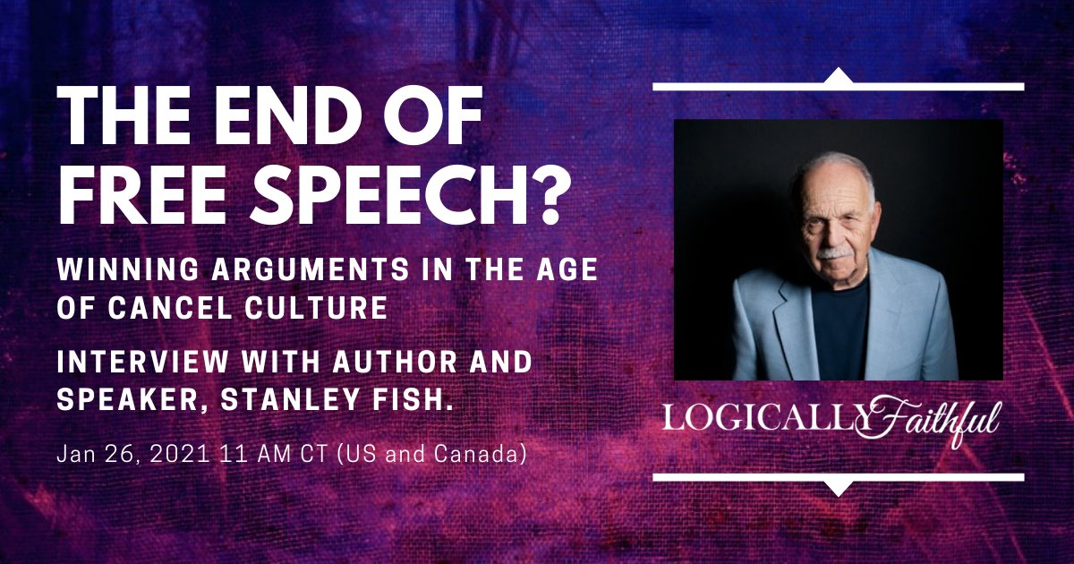 Tomorrow, I welcome Stanley Fish to a conversation about free speech. His award-winning thoughts about the state of our society will be incredible insightful.  RSVP and don't miss the livestream!   #apologetics #freespeech #Trump #liberals