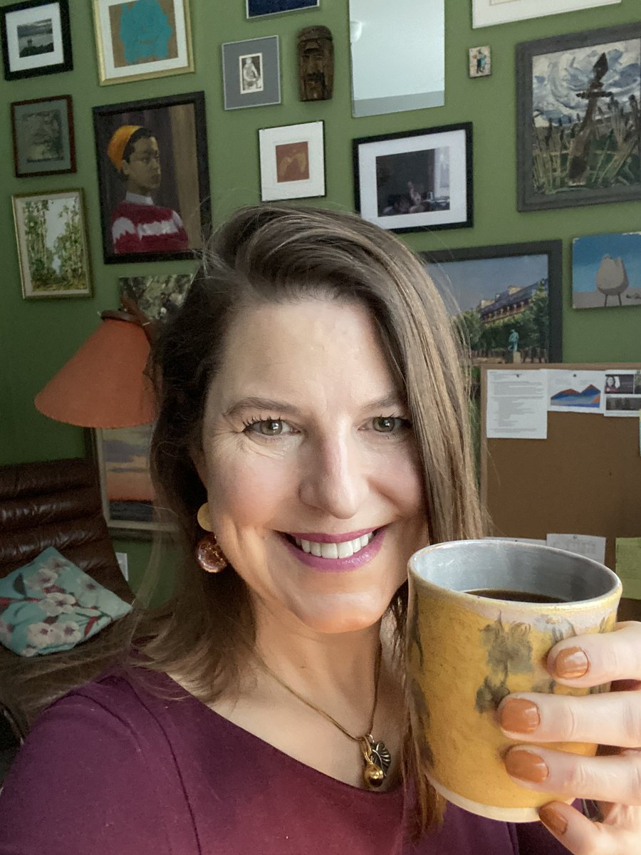 Delicious coffee, in a beautiful cup (thanks Philip!), with my lovely self-manicure. And I don't feel the need to obsessively watch news. Whew! #MondayMotivation #MondayMorning