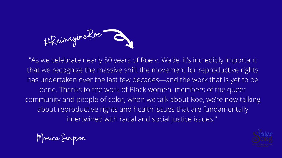 "SisterSong's @monicarsimpson was in @MsMagazine talking about the need to #ReimagineRoe and push for reproductive JUSTICE!!  ""It's important that we recognize the shift the movement for reproductive rights has undertaken & the work that is yet to be done."""