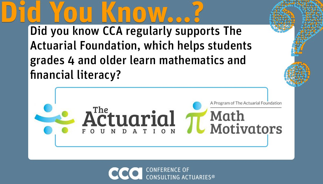 #DidYouKnow #CCA regularly supports @ActuarialFound, which helps students grades 4 and older learn mathematics & financial literacy? In fact, CCA Board of Directors member Steve Eisenstein (@RetrmntActuary) was recently recognized for the work he does as a #MathMotivators tutor!