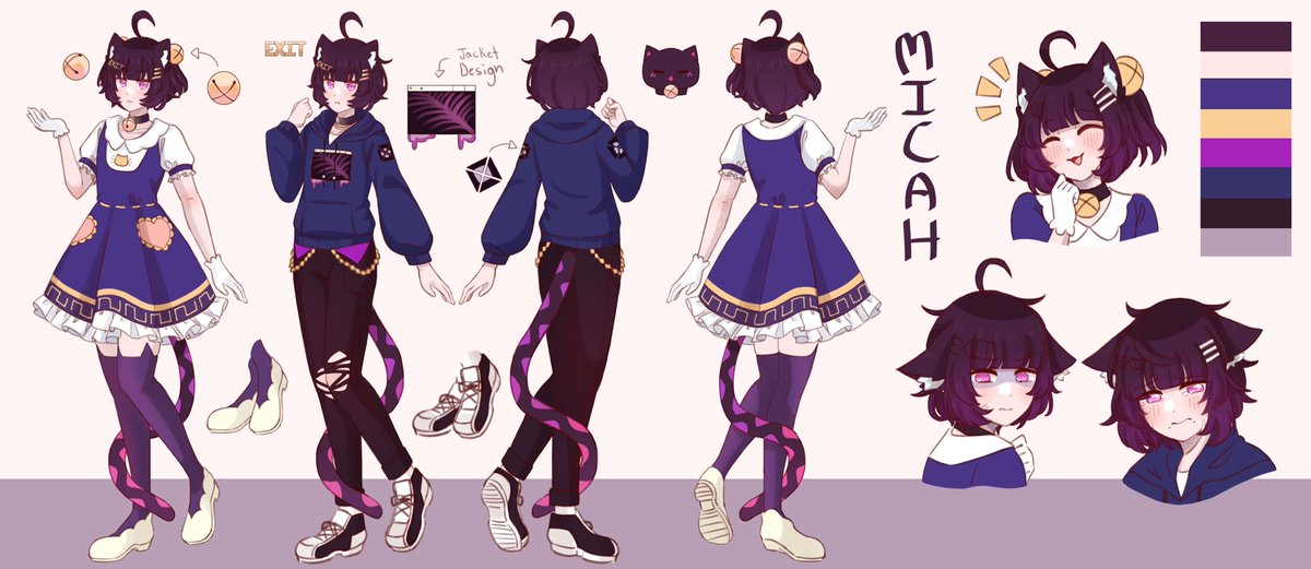 Ahhh sorry everyone! I'm a little late but here's my reference sheet drawn by the wonderful @Taenyaki   #vtuber #Vstreamer #VTuberUprising #charactersheet