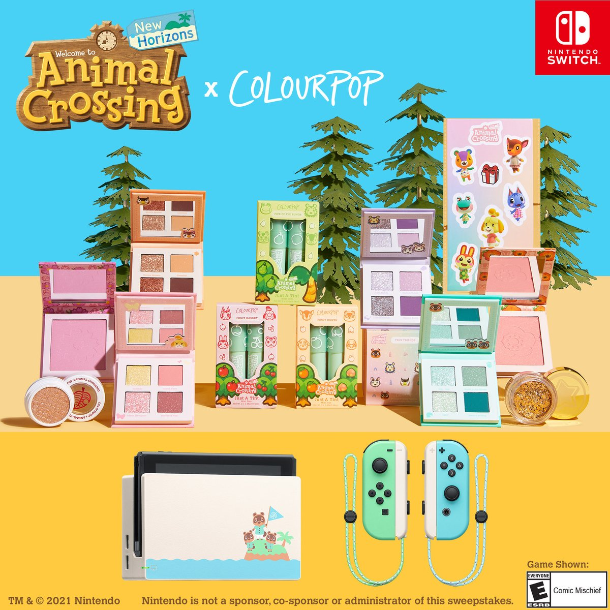 🏝️Animal Crossing #GIVEAWAY 🏝️  Win a Nintendo Switch™ + Animal Crossing game + the ENTIRE ColourPop x Animal Crossing: New Horizons Collection 🗿  To enter:  🏝️Like & RT 🏝️Reply w/ #AnimalCrossingxColourPop  🏝️Follow @ColourPopCo  + @NintendoAmerica